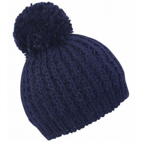 Bonnet knitted flute pom pom