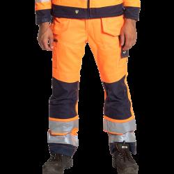 Pantalon de travail haute visibilité multipoches + genouillères classe 2 polycoton 280 grs-m2 Styx unisexe Herock