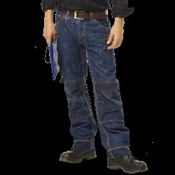 Pantalon Jean de travail multipoches 100% coton avec genouillères solide 450 grs-m2 Kronos homme Herock