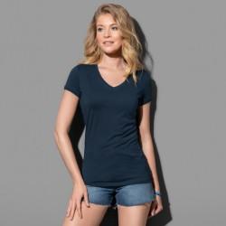 Tee-shirt col V près du corps coton peigné 145 grs-m2 Megan femme Stedman