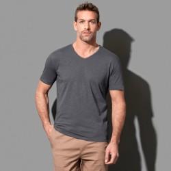 Tee-shirt col V coton flammé 140 grs-m2 Shawn homme Stedman