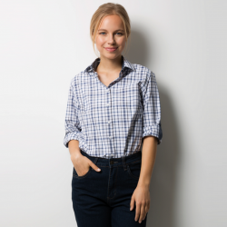 Chemise à carreaux manches longues relevables 60-40 coton-polyester 122 grs-m2 femme Alexandra