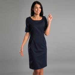 Robe manches courtes doublée jacquard et extensible zip arrière 54% polyester 44% laine Cadenza femme Alexandra