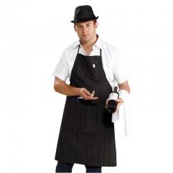 Tablier Milano Prestige coton 230 grs-m2 à fines rayures pochette décapsuleur long 88 cm XMIL X-fit
