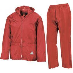 Ensemble pluie veste + pantalon ciré étui polyester 190T enduit unisexe Result