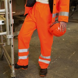 Sur-pantalon haute visibilité de pluie imperméable taille élastiquée classe 1 polyester enduit unisexe R022X Result