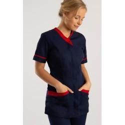 Blouse col V asymétrique bicolore manches courtes zip devant plis daisance 65-35 polycoton 195 grs-m2 femme NF54 Alexandra