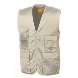 Gilet reporter multipoches 65-35 polyester-coton 220 grs-m2 Safari unisexe Result
