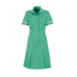 Blouse robe longue médicale zipée devant manches courtes et plis daisance 65-35 polycoton 195 grs-m2 femme Alexandra