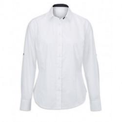 Chemise femme blanche m. et col contrastes