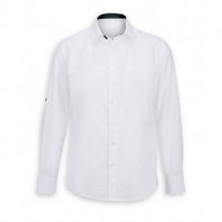 Chemise homme blanche m. et col contrastes